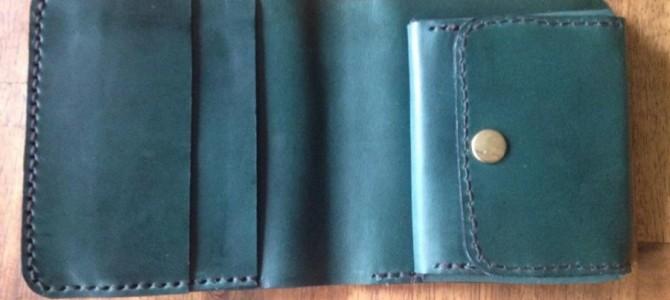 【新商品】手縫い二つ折り財布(グリーン)