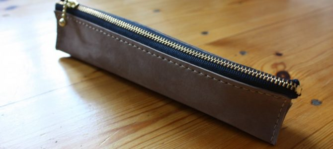 new! triangle leather pen case!