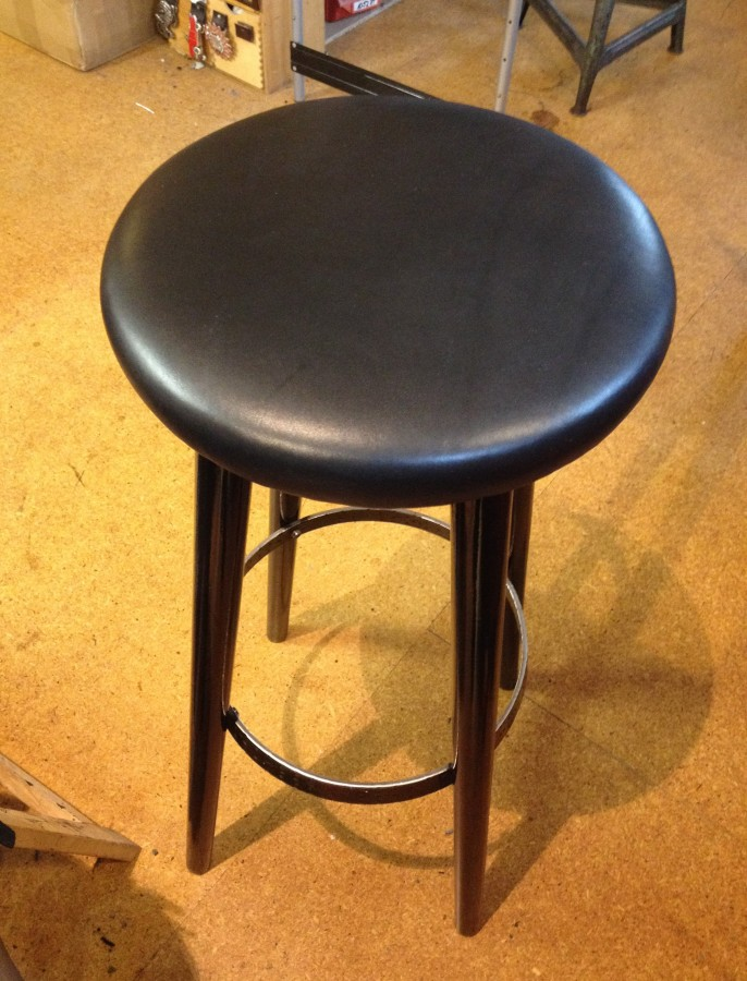 Made stool top with leather!