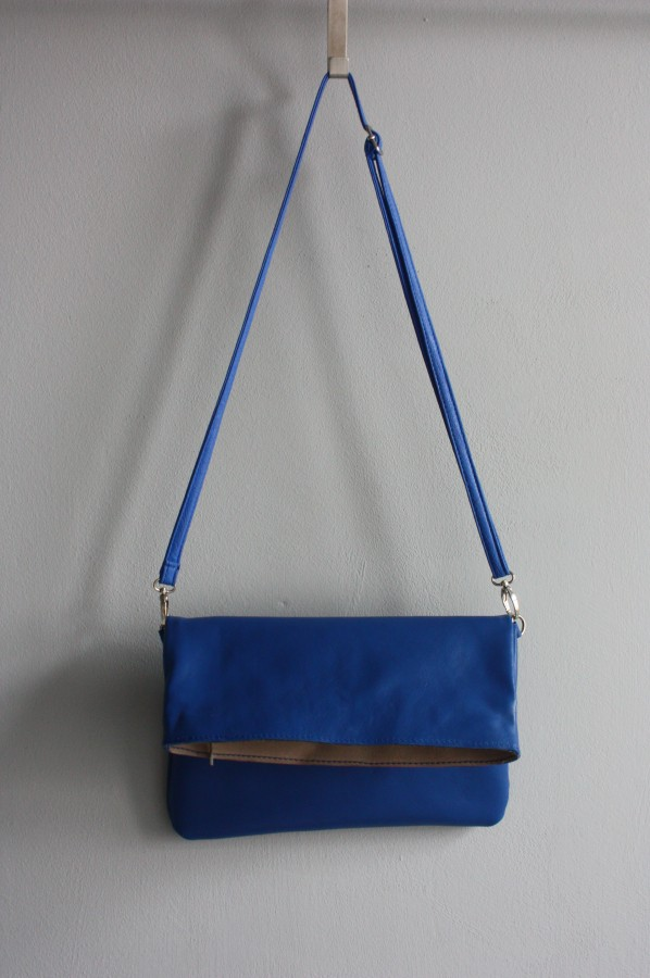 [special order] lady's small bag with blue leather.